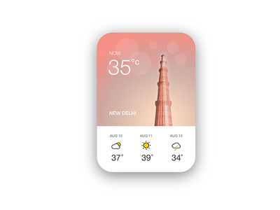 Weather App UI: Qutub Minar, New Delhi card india ui weather delhi qutub minar