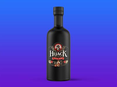 HIJACK BLACK DARK RUM BOTTLE MOCKUP motion graphics graphic design animation 3d branding typography new logo icon design mockup bottle rum dark