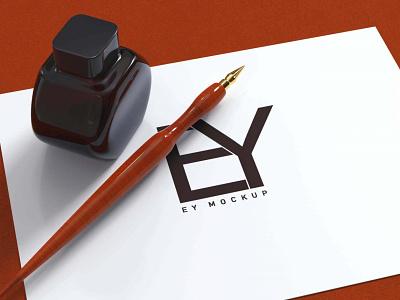 Old ink pen logo mockup animation branding illustration vector ux new typography icon color classic amazing latest stylish design mockup logo pen ink old free