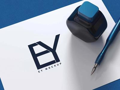 Blue Pen 3D Logo Mockup new illustration typography ui branding graphic design motion graphics icon creative animation business used colors amazing pen mockup logo 3d blue free