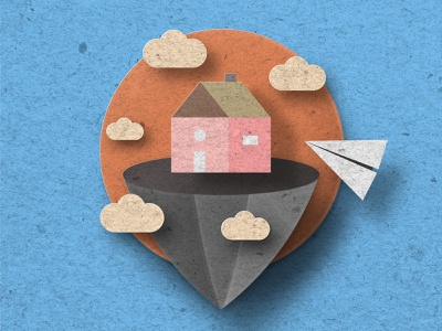 Floating house and a paper plane. pop out textured effect papercutout vector illustration icon flat design flat design