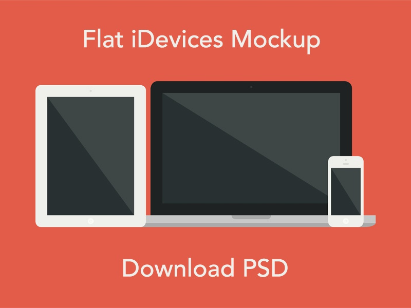 Flat iDevices Mockup PSD flat mockup psd iphone ipad macbook air macbook pro apple imac photoshop download free resource