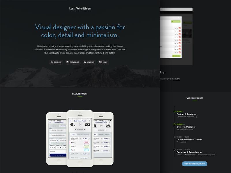 Personal Website portfolio personal website web design ui clean minimal landing page resume one page cv homepage