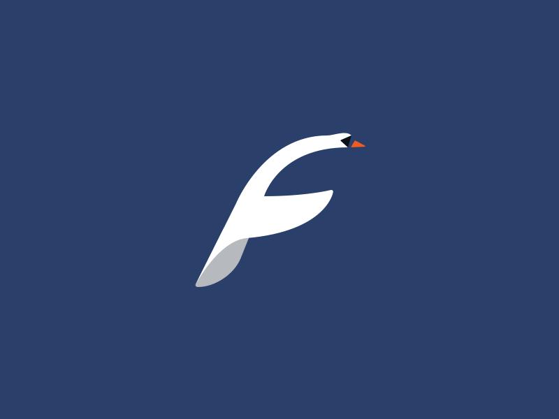 Swan + F brand animal illustration fly symbol mark logo bird f swan