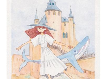 Alcazar of Segovia on Spain illustration