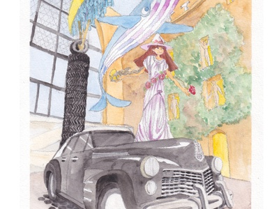 Rainy Taxi  outside [Meme in Dali's wo illustration