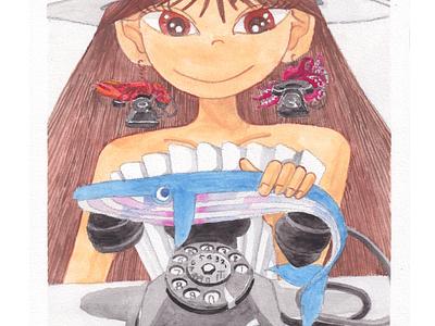 Whale Telephone instead of Lobster [Meme in Dali's world] illustration