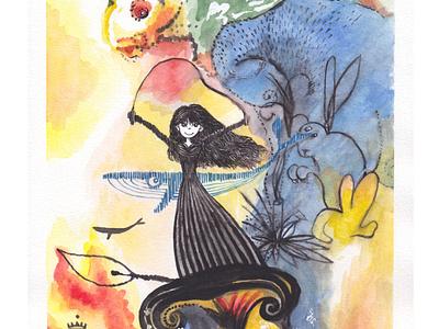 The Dark Meme in Wonderland insted Alice_Dali illustration