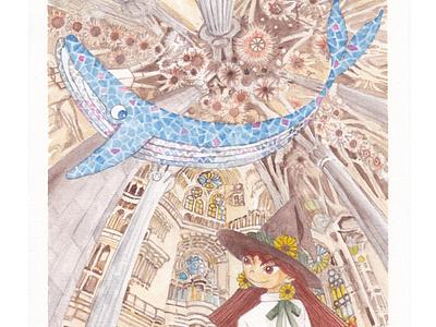 Meme and Coola in the Sagrada Familia illustration