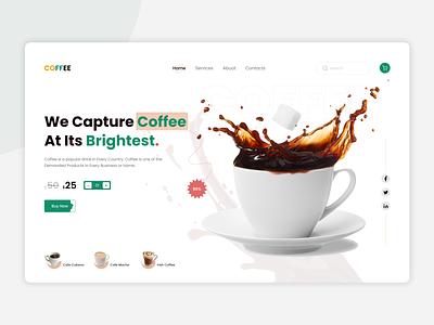 Coffee Header Exploration! character hero image online shop ecommerce website header header exploration minimal service ui design ux design clean coffee app coffee shop