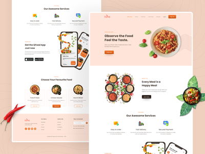 Food Delivery Landing Page-UI Design minimal header app landing page ui design ui web design website interface landing page food delivery food