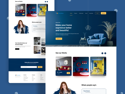 Interior Design-Landing Page clean header layout ui kit minimal interior design housing website design web design ui design landing page architecture home decoration