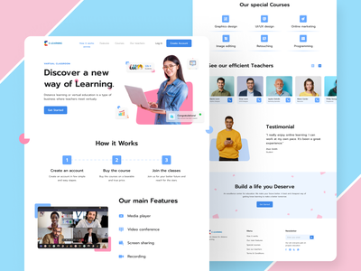Virtual Classroom Landing Page clean interface minimal virtual platform website design website ui