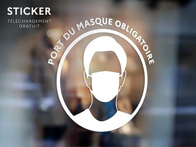 Sticker - Port du masque obligatoire shop français illustrator pdf mockup covid corona sticker design gouvernement france masque facemask masks mask freedownload freebie coronavirus covid-19 covid19 sticker