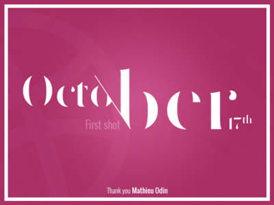 Thank you Mathieu Odin! mathieu odin thank you pink typography first shot dribbble