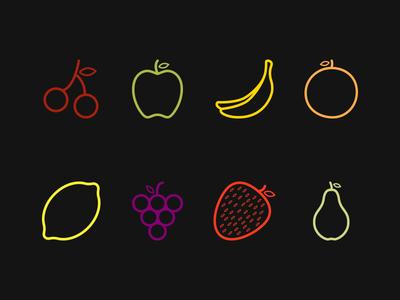Fruit shapes icon flat pear strawberry grapes lemon orange banana apple cherry fruits shapes