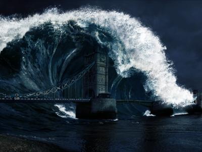 London Tsunami tidal wave darkness thames apocalyptic landscape matte painting united kingdom england tower bridge wave apocalypse tsunami london