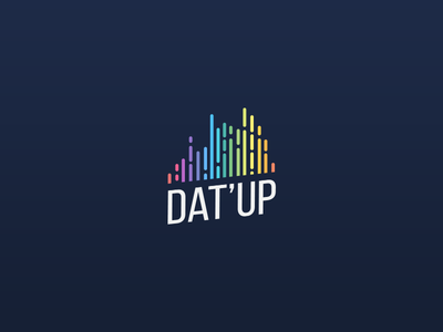 Dat'Up - Logo for a mobile app graph chart bars gradient perspective typography material design colors logo startup data datup