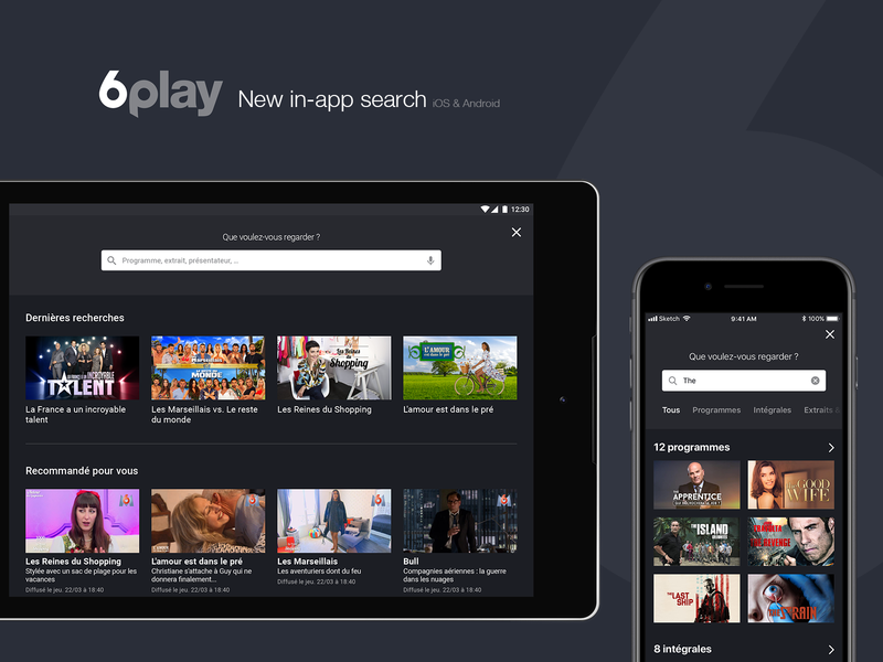 6play - New in-app search streaming app ui  ux app application design filters tablet mobile salto 6play m6 mockup android ios in-app search bar search