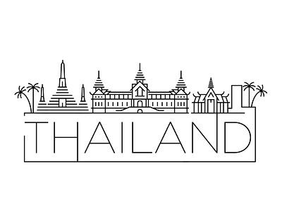 Thailand Minimal Skyline asia bali thailand building linear minimal design flat line icon illustration vector logo