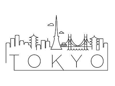 Tokyo Minimal Skyline japan tokyo city building linear minimal design flat line icon illustration vector logo