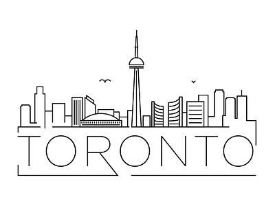 Toronto Minimal Skyline canada toronto building linear minimal design flat line icon illustration vector logo