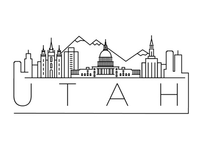 Utah Minimal Skyline america usa utah city building linear minimal design flat line icon illustration vector logo