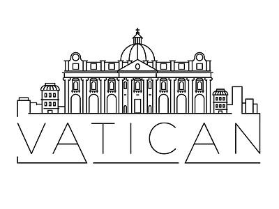 Vatican Minimal Skyline pope italy vatican building linear minimal design flat line icon illustration vector logo