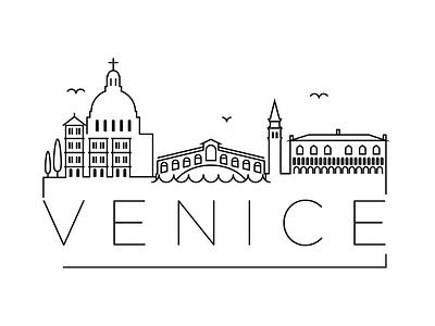 Venice Minimal Skyline italy venice building linear minimal design flat line icon illustration vector logo