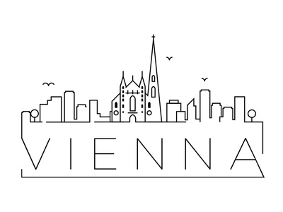 Vienna Minimal Skyline austria vienna linear minimal design flat line icon illustration vector branding logo
