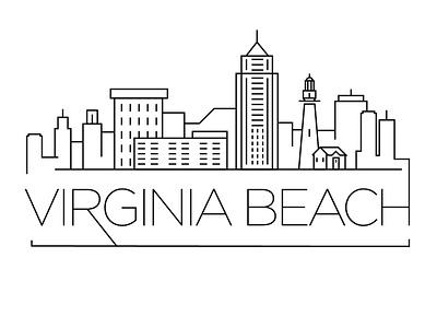 Virginia Beach Minimal Skyline usa virginia beach city building linear minimal design flat line icon illustration vector logo