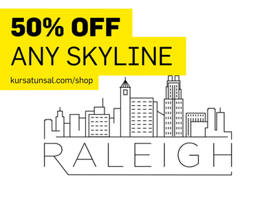 50% Off Any Skyline blackfriday skyline stroke logo city building linear minimal design flat line icon illustration vector
