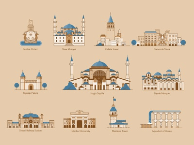 Istanbul Map - Buildings linear city icon illustration vector building turkey istanbul