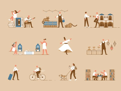 Istanbul Map - Character Designs semazen bicycle tea dog cat hammam istanbul line flat icon illustration vector character
