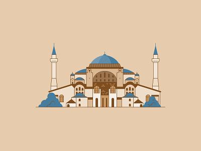 Hagia Sophia city building line icon illustration vector istanbul museum mosque