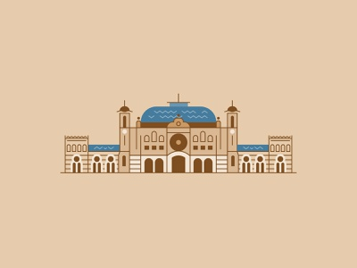 Sirkeci Railway Station flat building line icon illustration vector train station istanbul railway station railway sirkeci
