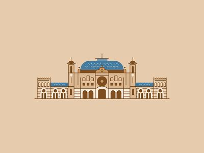Sirkeci Railway Station flat building line icon illustration vector train station istanbul railway station railway sirkeci