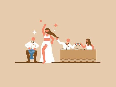 Kumkapi Nights dance belly dancer city design flat line icon illustration vector kumkapi istanbul