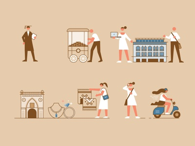 Istanbul Map - Character Designs II city linear flat line icon illustration vector design character