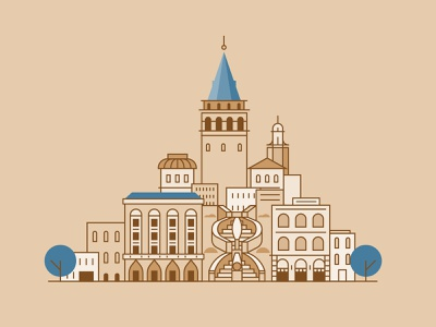 Galata Tower - Istanbul map city building linear design flat line icon illustration vector stairs turkey istanbul galata tower galata