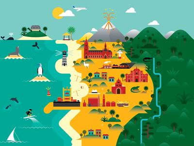 Ecuador Map for TBY Magazine icon design illustration vector ecuador map