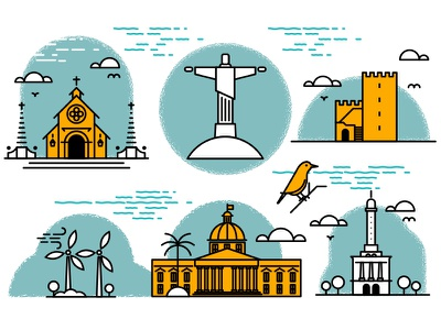 Dominican Republic Icons icon design illustration vector dominic dominican republic editorial landmark church fortress