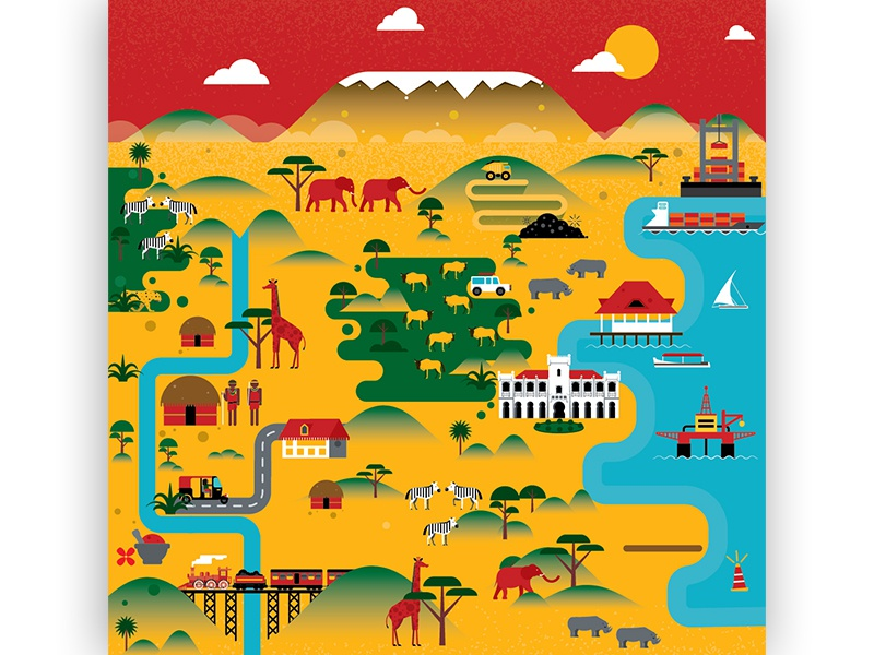 Tanzania Map Illustration by Kürşat Ünsal on Dribbble