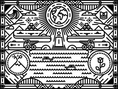 Ecuador Illustration icon symbol landmark pattern ecuador vectorart stroke lineart linear flat design vector