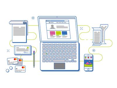 Online Banking Solutions minimal vector pencil bills smartphone laptop notepad checkbook mastercard line banking