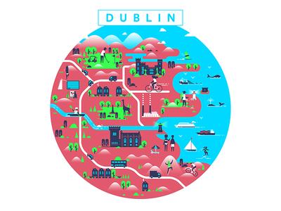 Kürşat Ünsal / Projects / Tech Life Ireland Dublin Map Illustration on