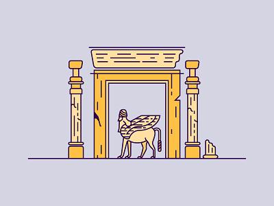 The Ruins of Persepolis icon design line flat statue ruin persepolis iran