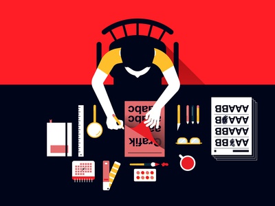 Graphic designers' work desk from past...