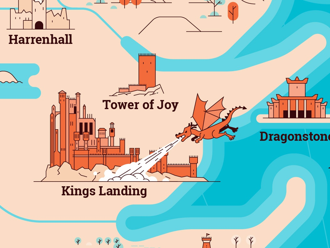 Game of Thrones Map Illustration castle winterfell dragon got westeros game of thones map linear design flat line icon illustration vector
