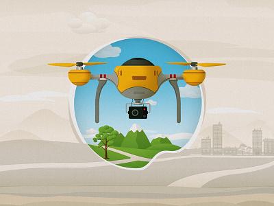 Drone mountain nature illustrator drone drawing illustration